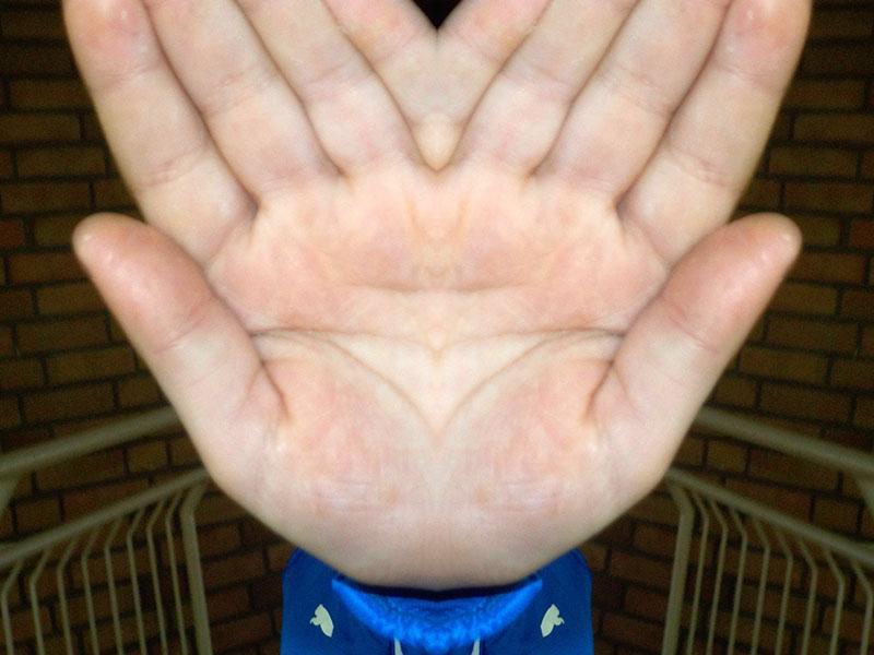 gespiegelte Hand