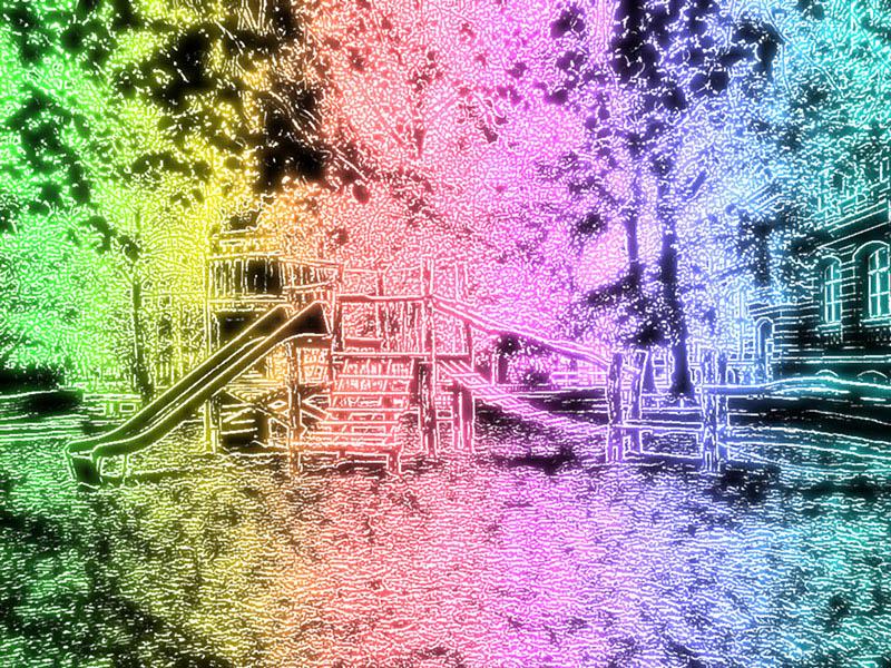 Spielplatz mit Neoneffekt