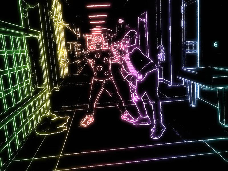 Schulflur mit Neoneffekt