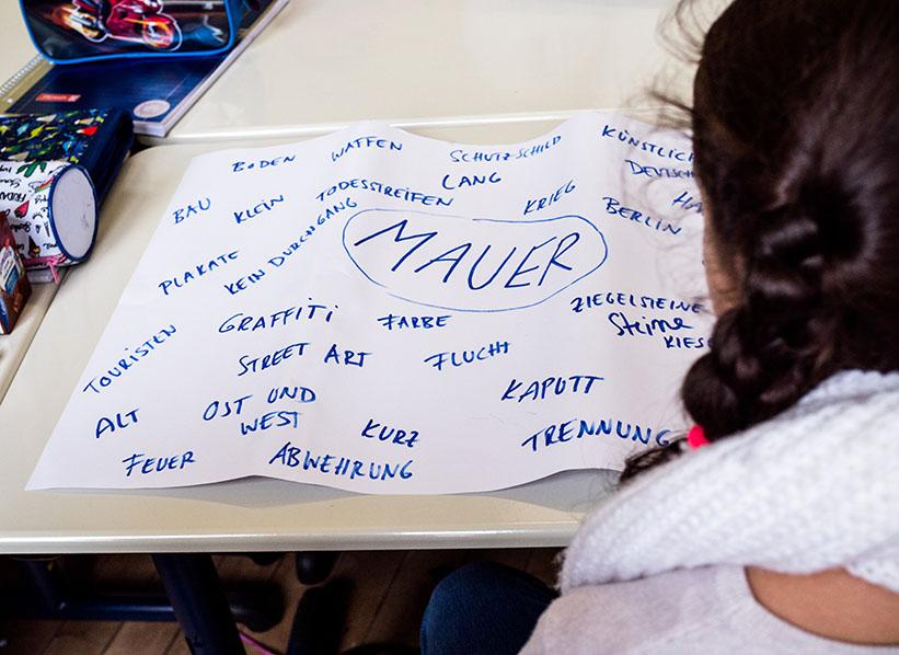 Zettel mit Begriffen zum Thema Mauer
